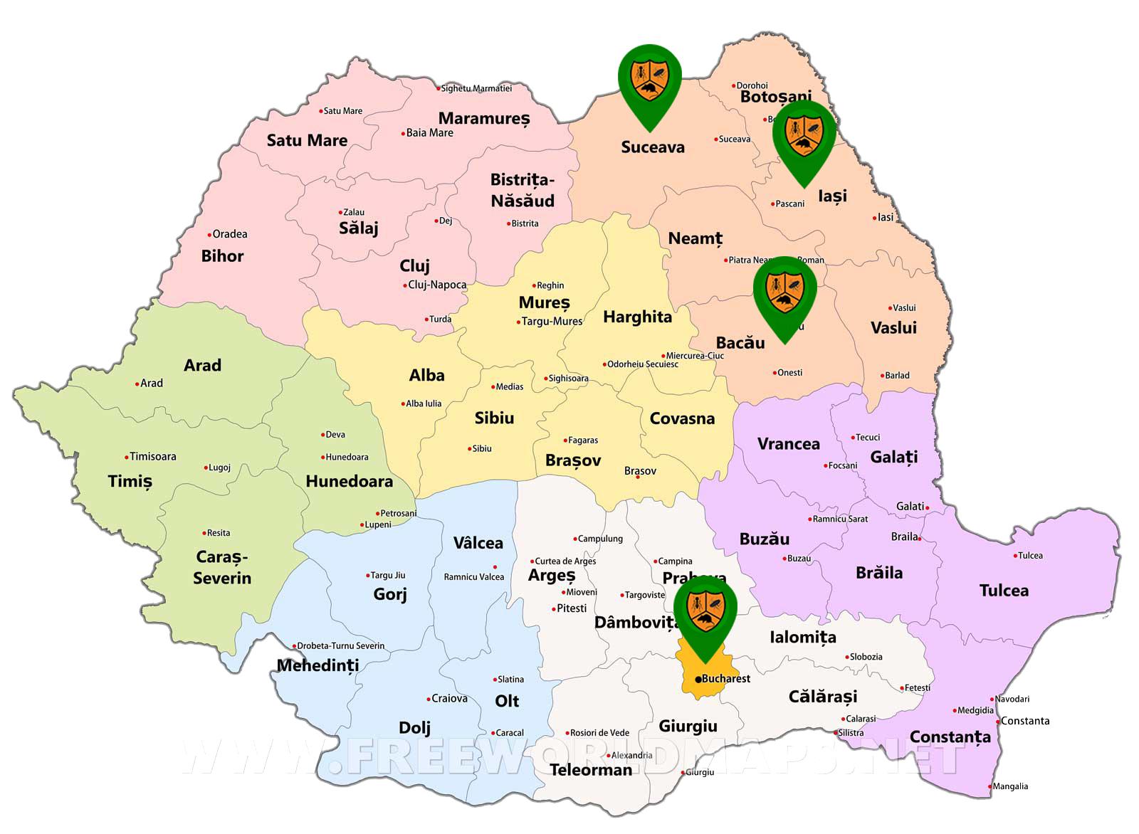 Harta DDD Locatii